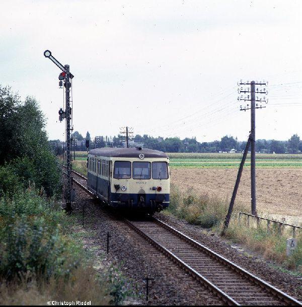 Akkutriebwagen, ETA 150, BR 515, Formsignal, Strecke Mönchengladbach-Dalheim